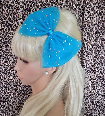 £3.99 • Buy TURQUOISE SPARKLE  BOW TULLE TUTU NET ALICE HAIR HEAD BAND 80s PARTY FANCY DRESS