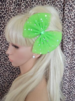 £3.99 • Buy NEW NEON GREEN BIG 6  SPARKLE BOW TULLE TUTU NET HAIR CLIP 80s PARTY FANCY DRESS