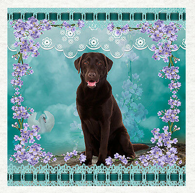 Dog - Chocolate Labrador Fabric Craft Panels In 100% Cotton Or Polyester • 4.95£