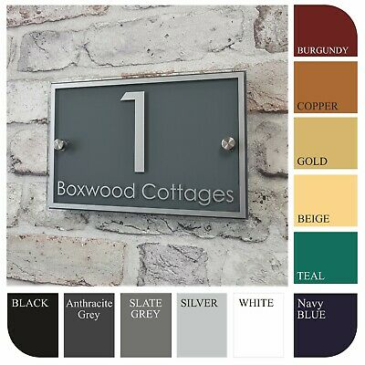 £14.99 • Buy Modern House Name/Number Address Plaques Door Signs Rectangle Glass Effect