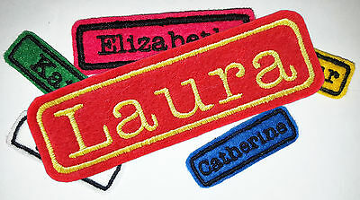Embroidered Personalised Name Tag Patch Badge Iron On, Sew On LARGE • 3.60£