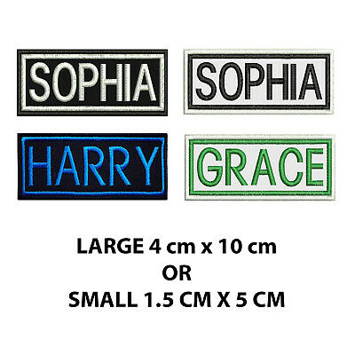 Embroidered Personalised Name Tag Biker Tag Patch Label SEW ON Or IRON ON  • 3.70£