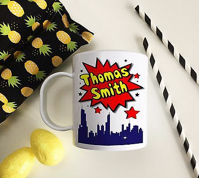 Personalised Comic Strip Plastic Mug Children's Birthday Gift Juice Cup Any Name • 10.99£