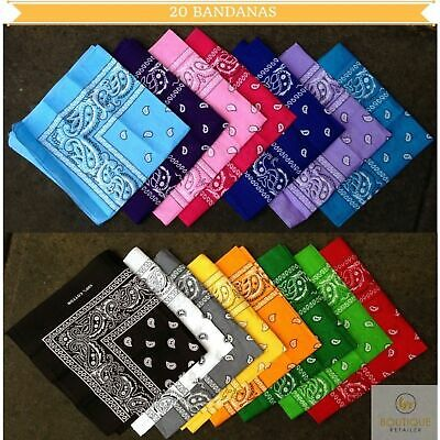 AU39 • Buy 20x BANDANA Paisley 100% COTTON Head Wrap Durag Bandanna Scarf Mask BULK