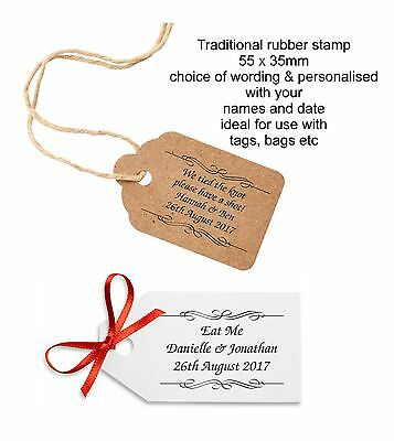 £12.95 • Buy Personalised Eat Drink Me Tied The Knot Have A Shot Wedding Favours Rubber Stamp