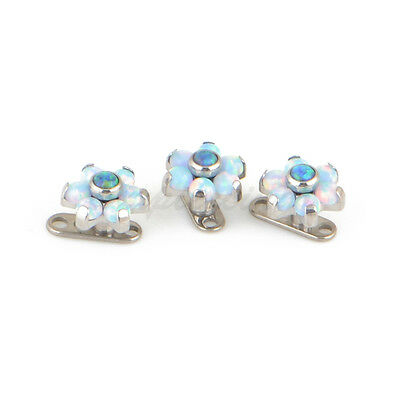 $12.49 • Buy 14G Titanium Base Synthetic Opal Stone Dermal Anchor Universal Piercing Jewelry