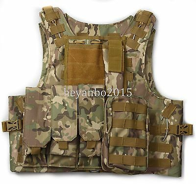 $40.99 • Buy Usmc Tactical Military Airsoft Molle Combat Assault Plate Carrier Vest -cp Camo