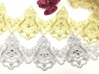 £4.49 • Buy Bridal Lace Gold & Silver Embroidered Pearl Trim Ribbon Wedding Dress Edging