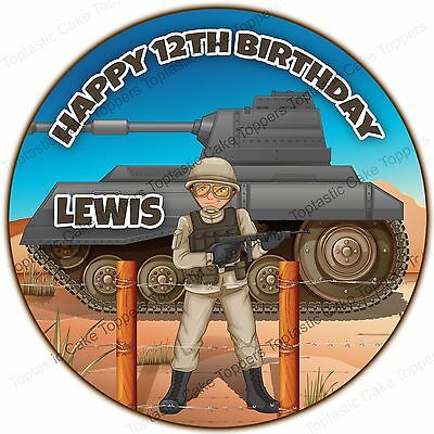 £4.65 • Buy Personalised Military Army Tank Soldier Edible Icing Birthday Party Cake Topper