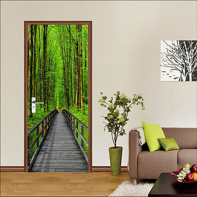 £94.53 • Buy 3D Forest Spring Door Wall Mural Photo Wall Sticker Decal Wall AJ WALLPAPER US
