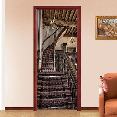 £94.53 • Buy 3D Stairs House Door Wall Mural Photo Wall Sticker Decal Wall AJ WALLPAPER US