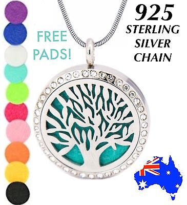 AU15.60 • Buy Crystal TREE Of LIFE Essential Oil Diffuser 925 Sterling Silver Chain Necklace