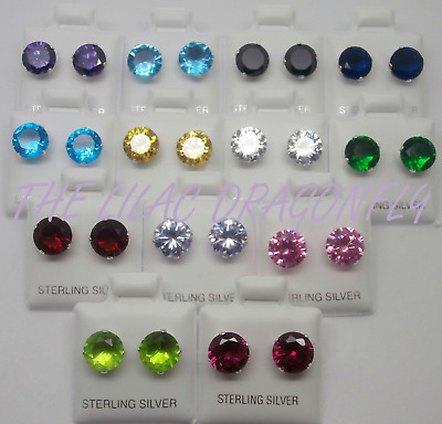 925 Sterling Silver Round Birthstone Colour CZ Diamante Stud Earrings UK SELLER • 3.99£