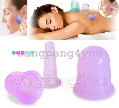 Anti Cellulite Silicone Massage Vacuum Cupping Cup Set Slimming Body Facial Cups • 11.07£