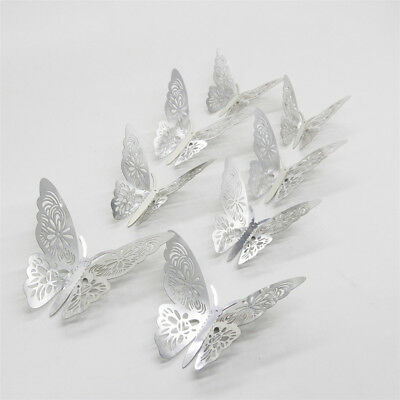 AU5.95 • Buy GOLD/SILVER3D DIY Wall Sticker Butterfly Home Room Decor Decorations 12 Pcs Set