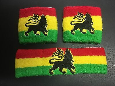 Lion Of Judah On Red Gold Green - Headband & Wristbands Roots Reggae Rasta • 5.50£