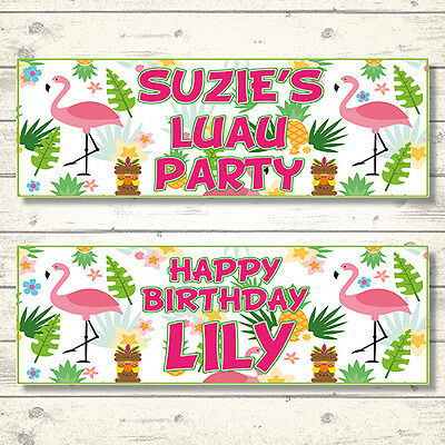 2 Personalised Luau Hawaiian Birthday Party Banners - Any Message • 3.99£