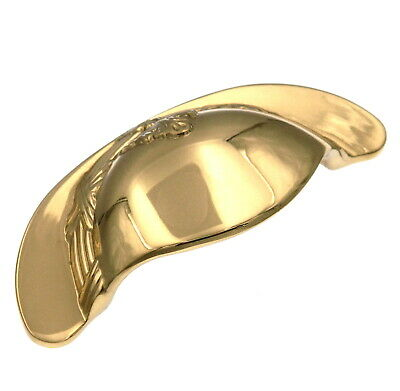 $9.35 • Buy Polished Brass 3 Cc Solid Brass Cabinet Cup Pulls M13 Keeler Ribbon & Reed