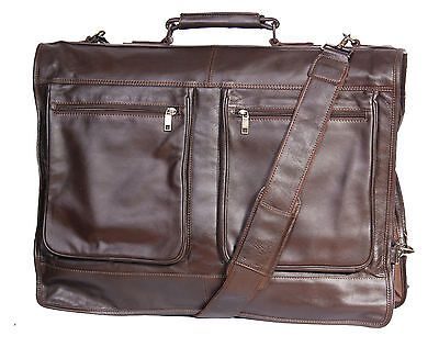 Genuine Luxury Leather Suit Carrier Garment Dress Travel Weekend Cabin Bag Brown • 192£