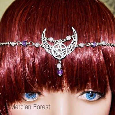 Crescent Moon Pentacle Headdress - Pagan Jewellery, Wicca, Goddess, Witch, Wicca • 11£