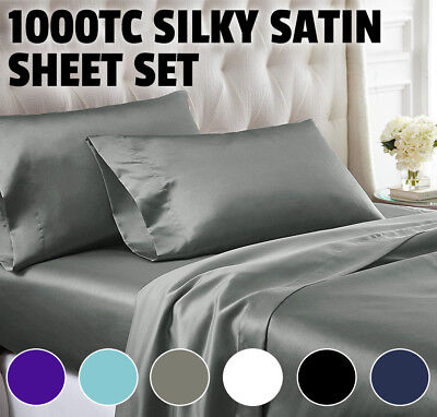 AU42.80 • Buy 1000TC All Size Ultra SOFT Silk Satin Sheet Set Flat Fitted Sheet Pilllowcases