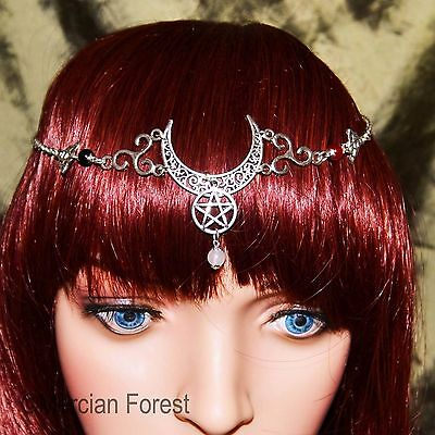 Triple Goddess Crescent Moon Headdress - Pagan Jewellery, Wicca, Witch, Pentacle • 11.50£