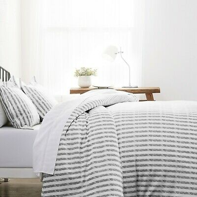 $23.99 • Buy Home Collection Premium Ultra Soft 3 Piece Puffed Rugged Stripes Duvet Cover Set