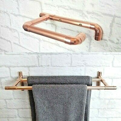 Copper Toilet Roll Holder & Double Towel Rail - Handmade With Real Copper • 9.75£