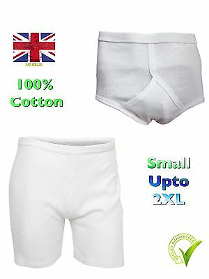 Mens Trunks Y Fronts White Boxers Interlock Briefs S M L XL XXL  100% Cotton  • 4.99£