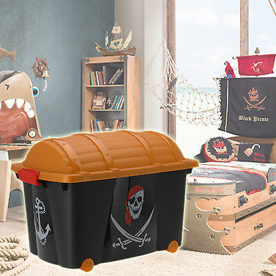 Pirate Toy Box Storage Chest Bedroom Childrens Playroom Kids Boy Play Treasure • 14.99£