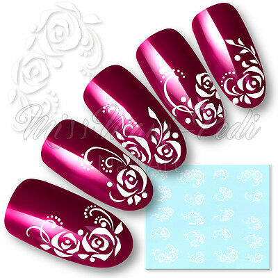 £2.15 • Buy Rose Nail Art Water Decals Transfers Stickers White Flowers Dots Roses Y047A