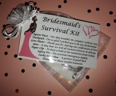 Will You Be My Bridesmaid Gift Survival Kit Keepsake Wedding Favour Novelty Bag • 1.70£