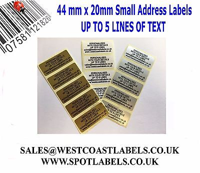 £2.95 • Buy Personalised Printed Sticky Address Labels Stickers White Gold Silver