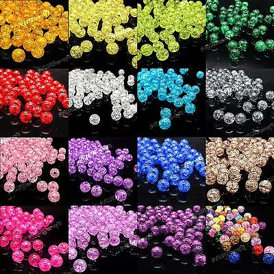 £1.59 • Buy Pack Of 100 Round Crackle Loose Beads 8mm 10mm Assorted Colours UK Seller