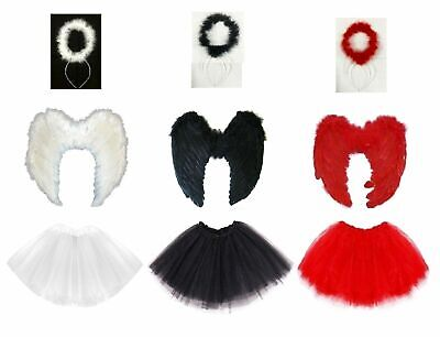 Dark Angel Fairy Costume W/ Feather Wings, Halo & Tutu  Adult Fancy Dress Outfit • 4.75£