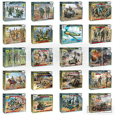 Zvezda Figures German Russian Soviet 1/72 WW2 Miniatures Infantry Recon Crew • 4.99£