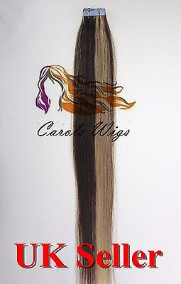 8A* Tape Skin 16'' Medium Brown Mix Blonde Russian Remy Human Hair Extensions UK • 17.99£