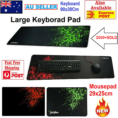 AU14.19 • Buy 900x300MM Desk Keyboard Pad Mat Black & Red Extended Gaming Mouse Pad Anti-slip
