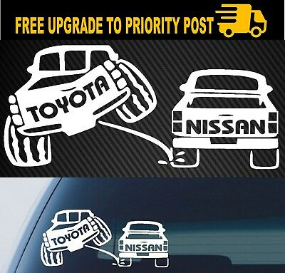 AU6.90 • Buy For TOYOTA Sticker Decal Pee On Nissan 4x4 Ute Funny Landcruiser Hilux 200mm