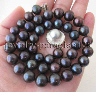 $39.99 • Buy J8335 - 18  AAA 10-11mm Black Round Freshwater Pearl Necklace - Mabe Pearl Clasp