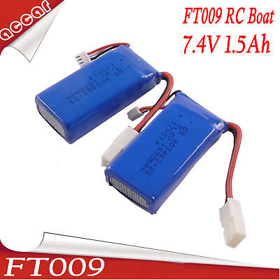 AU35.59 • Buy 2X Battery For FEILUN FT009 7.4V 1500MAH Remote Control Racing RC Boat AU SELLER