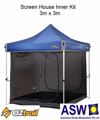 AU110 • Buy 3m X 3m Oztrail Gazebo SCREEN HOUSE INNER KIT Deluxe Screenhouse G-OZSHIK3.0
