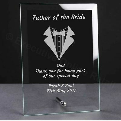 Personalised Engraved Wedding Glass Plaque - Father Of The Bride Gift • 9.99£