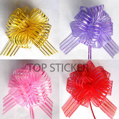 2-10 Pcs Pom Pom Bow 50MM LARGE ORGANZA RIBBON PULL BOWS WEDDING PARTY GIFT WRAP • 1.95£