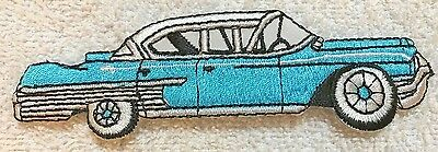 Iron On Embroidery PATCH 50'S CAR SEDAN  CADILLAC Turquoise NEW • 5.99$