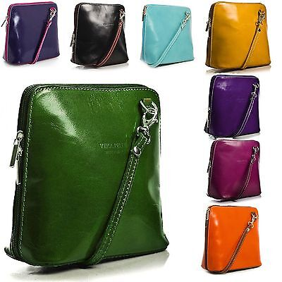 Women's Genuine Italian Leather Vera Pelle Small/ Mini Classic Cross Body Bags • 18.99£