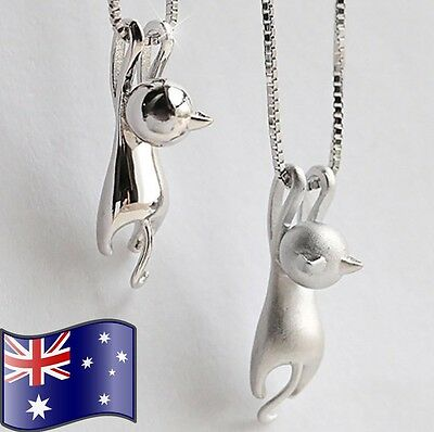 AU10.95 • Buy Women's Cute 925 Sterling Silver Hanging Cat Pendant Necklace + Gift Pouch NEW