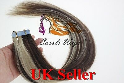 8A* Tape Skin 14  Medium Brown Mix Blonde Russian Remy Human Hair Extensions UK • 16.99£