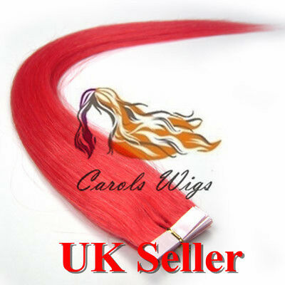 8A* Best Quality 14  Tape-In Col Pink Russian Remy Human Hair Extensions UK  • 16.99£