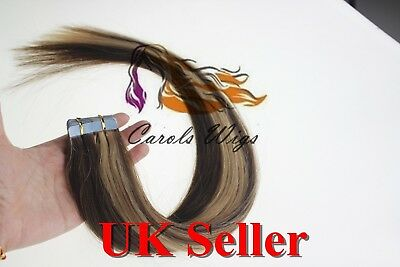 8A* Tape Skin 24  Medium Brown Mix Blonde Russian Remy Human Hair Extensions UK • 42.99£